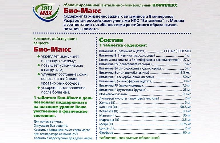 Химический состав и свойства витаминов Био-Макс
