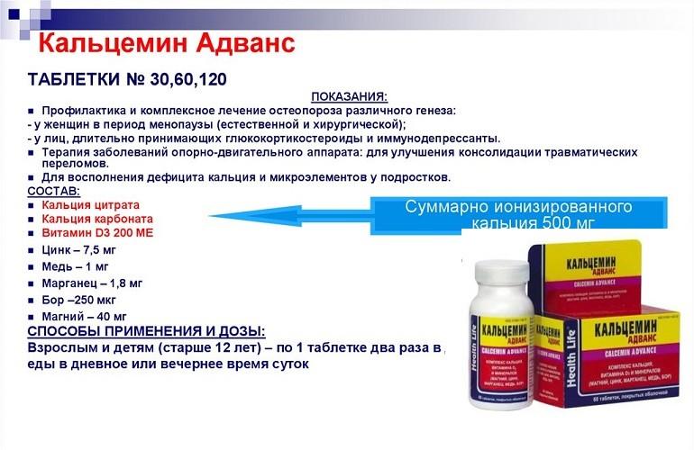 Инструкция к препарату Кальцемин Адванс