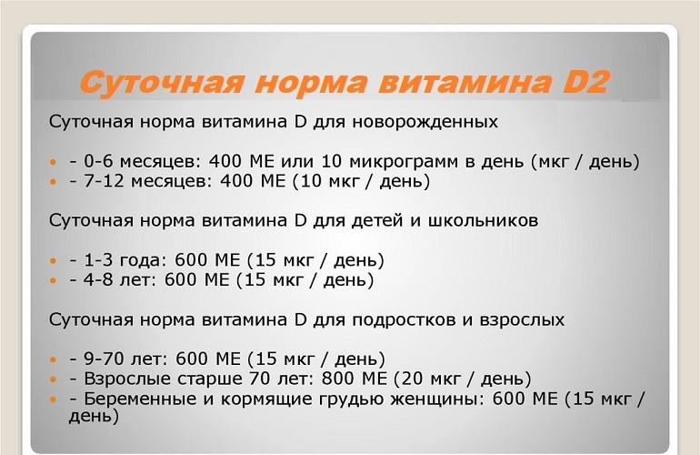 Нормы потребления эргокальциферола